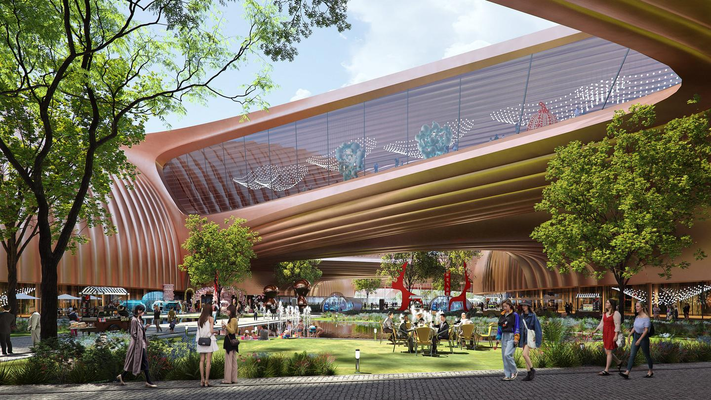 Phase II of the International Exhibition Centre in Beijing's unusual copper color will