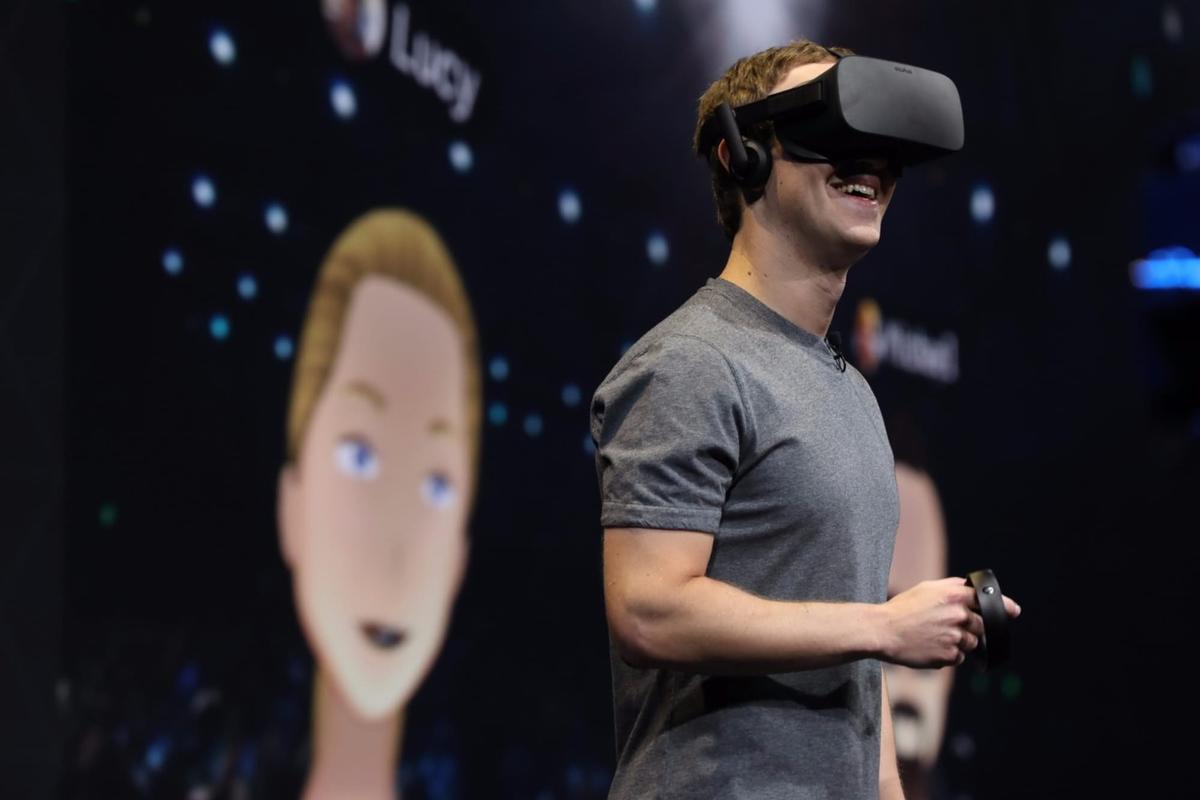 Facebook CEOMark Zuckerberg, showing off the Oculus Rift in October