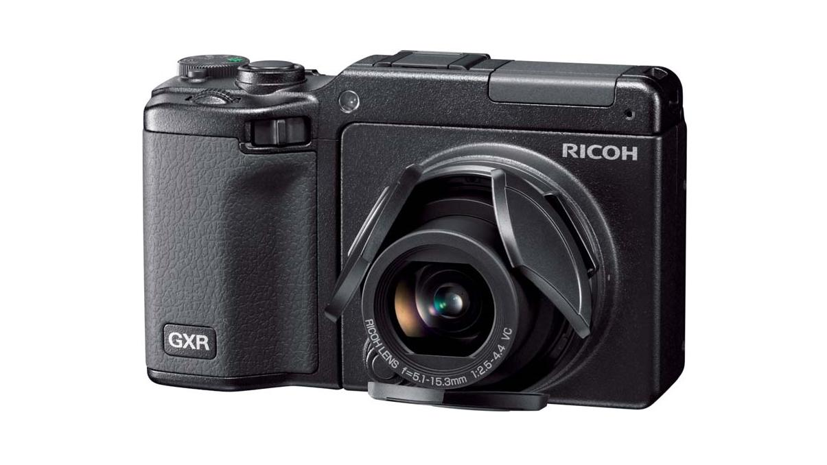 The Ricoh GXR with the S10 lens module installed (the new P10 lens unit should look similar)
