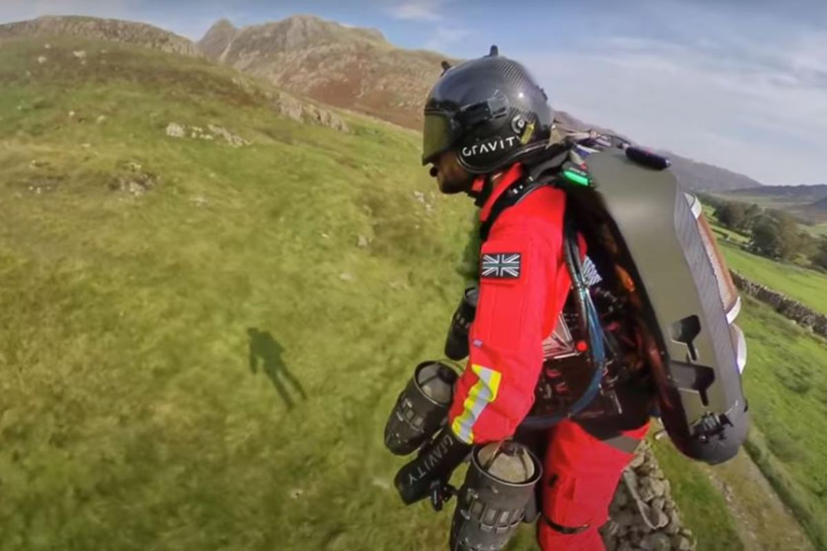 A test flight using the 1,050-hp Jet Suit took place in the Lake District in England