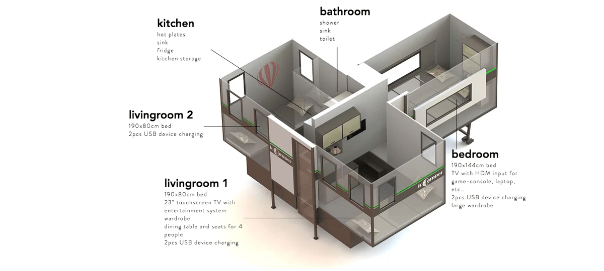 A better look at the ioCamper's room layout and feature set