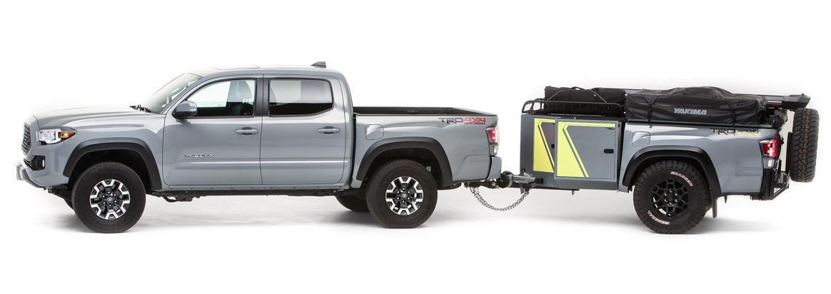 Color-matched Tacoma pickup and Tacoma trailer