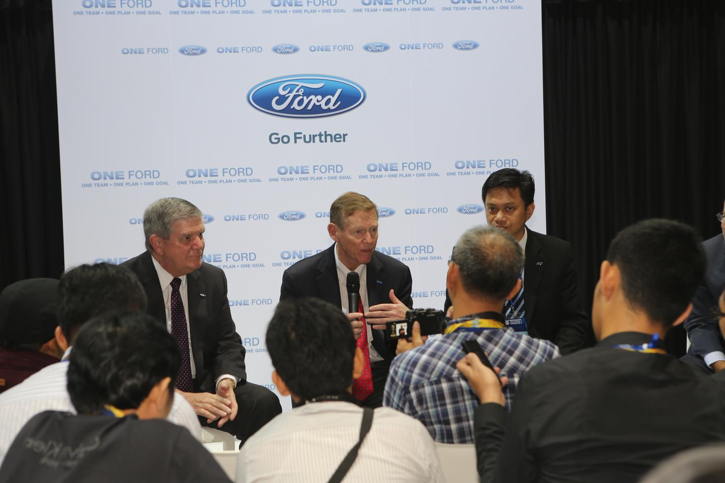 Alan Mullaly, the head of Ford Motor Company, meets dealers at the opening day of the Bangkok International Motor Show, 2013 (Photo: Husna Namirembe/Gizmag)