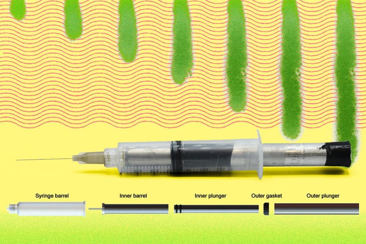 The prototype needle's syringe incorporates a drug-filled barrel within a lubricant-dispensing barrel