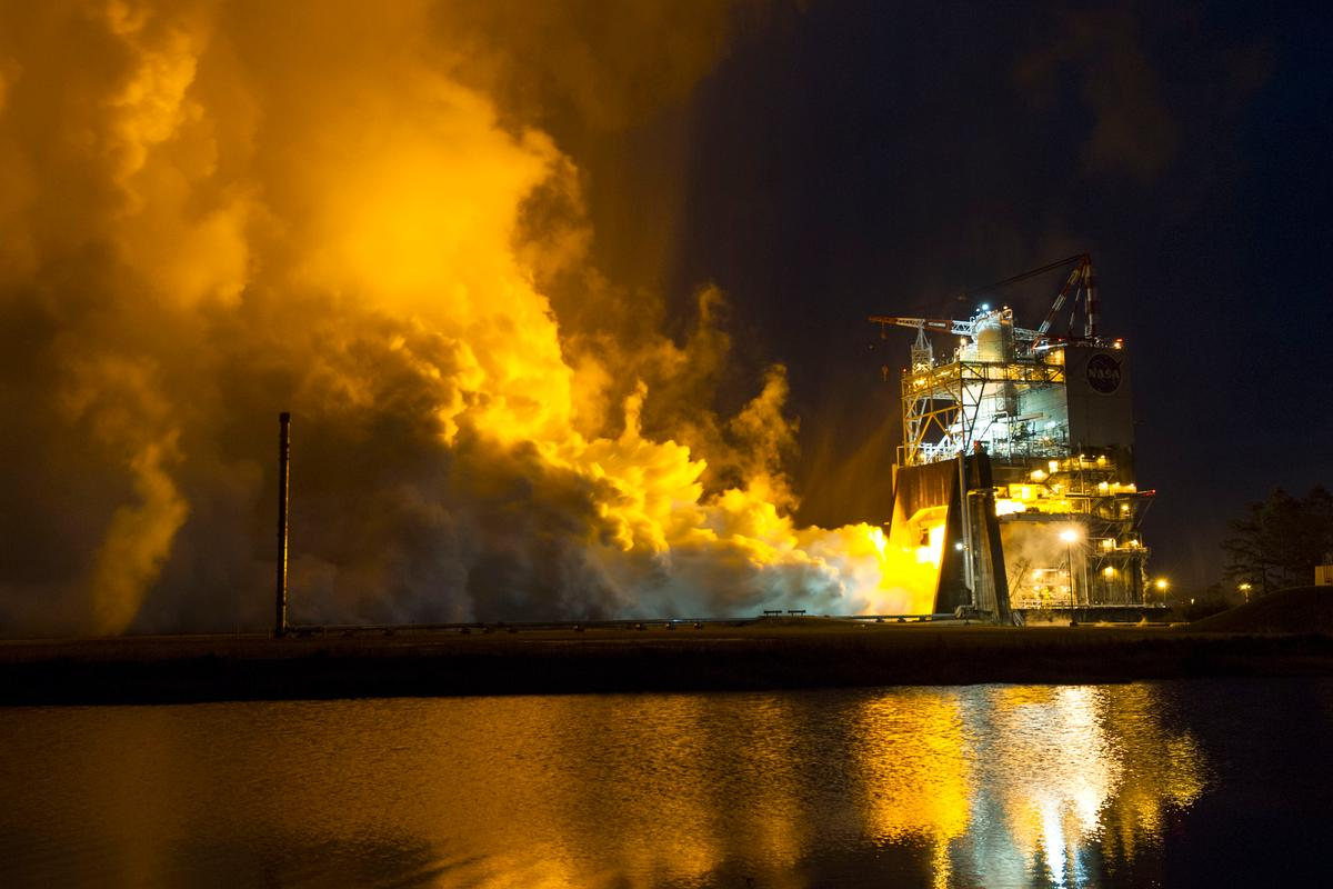 The RS-25 engine took place at NASA's Stennis Space Center near Bay St. Louis, Mississippi (Image: NASA TV)