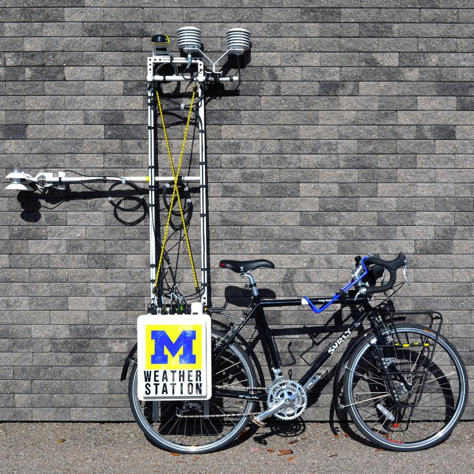 Over 50 lb (23 kg) of gear was added to an existing touring bike, which Prof. Rajkovisch rode throughout the city over the course of a summer