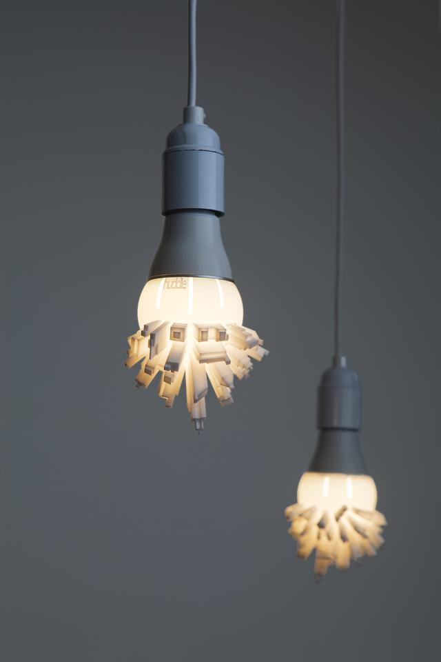 The Huddle bulbshade, by designer David Graas, resembles a modern cityscape