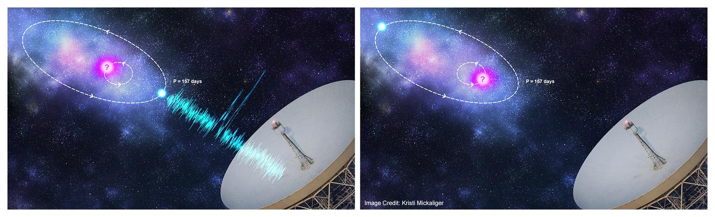 An artist's impression of an orbital model that could be producing the pattern of signals detected from FRB 121102: the radio-emitting object may be in a tight orbit with a massive object like a black hole
