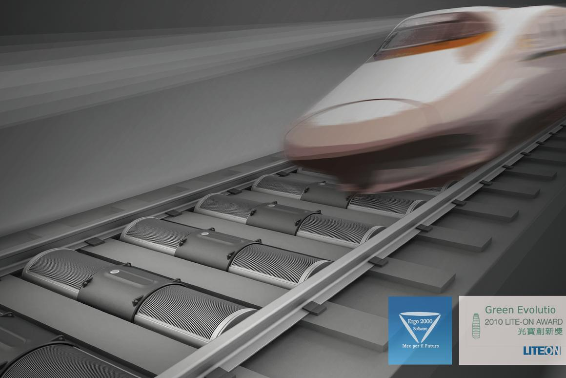 The T-box concept would be installed between railway sleepers, and would harness the wind of passing trains to generate electricity (All images courtesy of Qian Jiang)