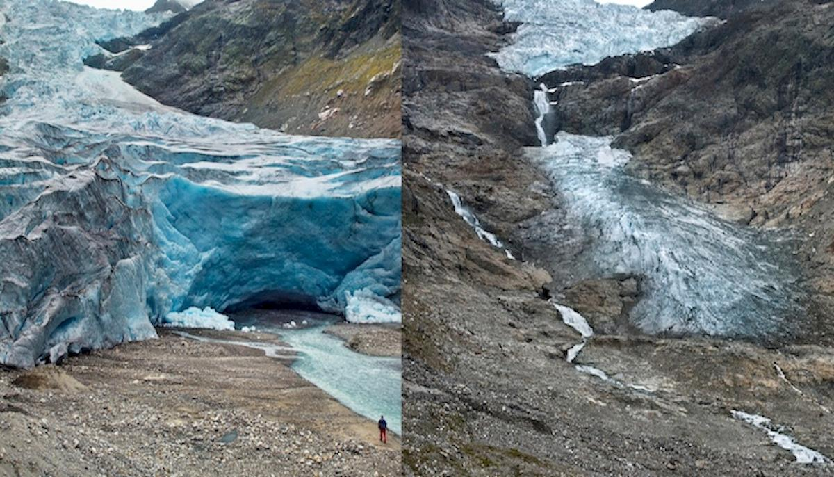 Trift Glacier, Switzerland, has retreated by 1.17 km (0.7 miles) between 2006 (left) and 2015 (right)