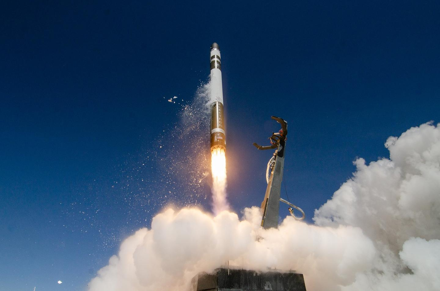 Rocket Lab's Electron booster lifts off during an earlier mission