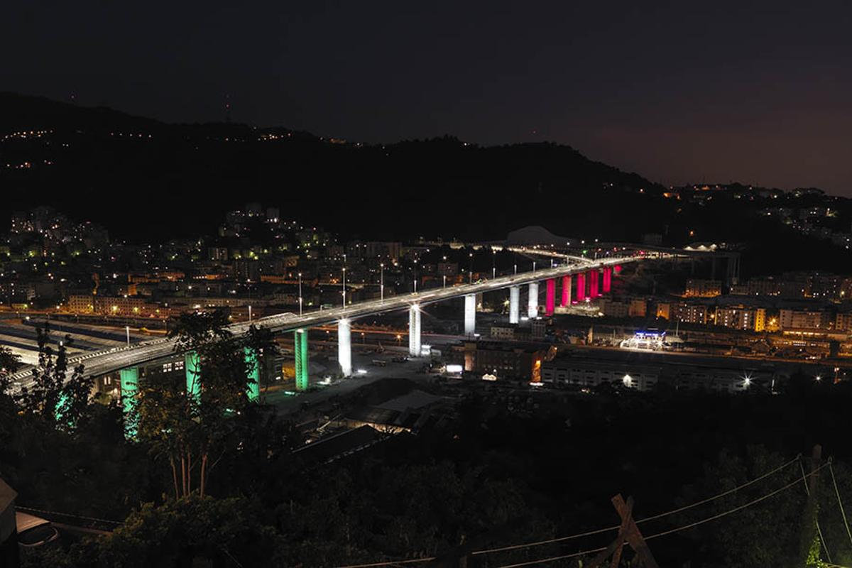 The Genova San Giorgio Bridge, shown illuminated with the colors of the Italian flag on its completion