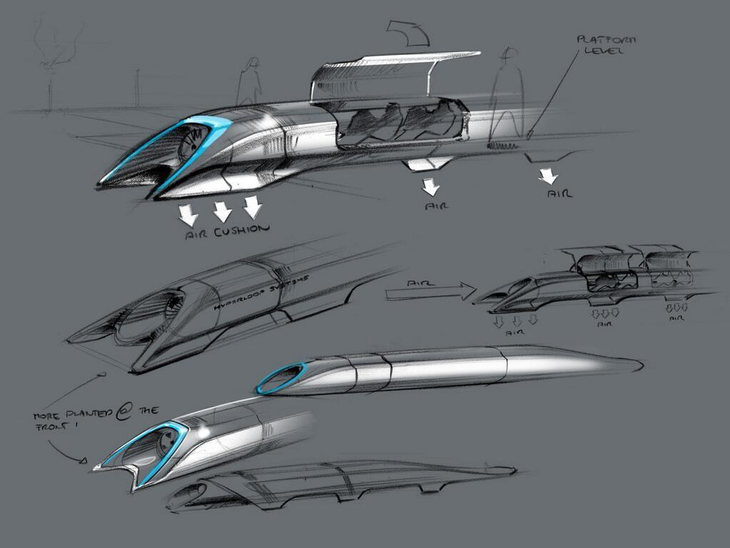 Design sketches of the Hyperloop capsule