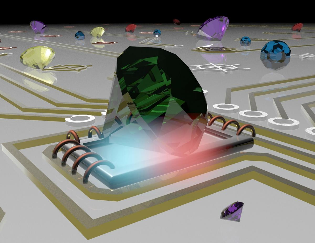 Illustration of nanoscale diamonds probing temperature of electronic circuits
