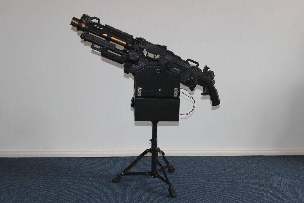 Luckily, the Nerf Vulcan already operates using an electric motor, so controlling the actual firing mechanism through a computer was just a matter of connecting it directly to an Arduino Uno and a laptop