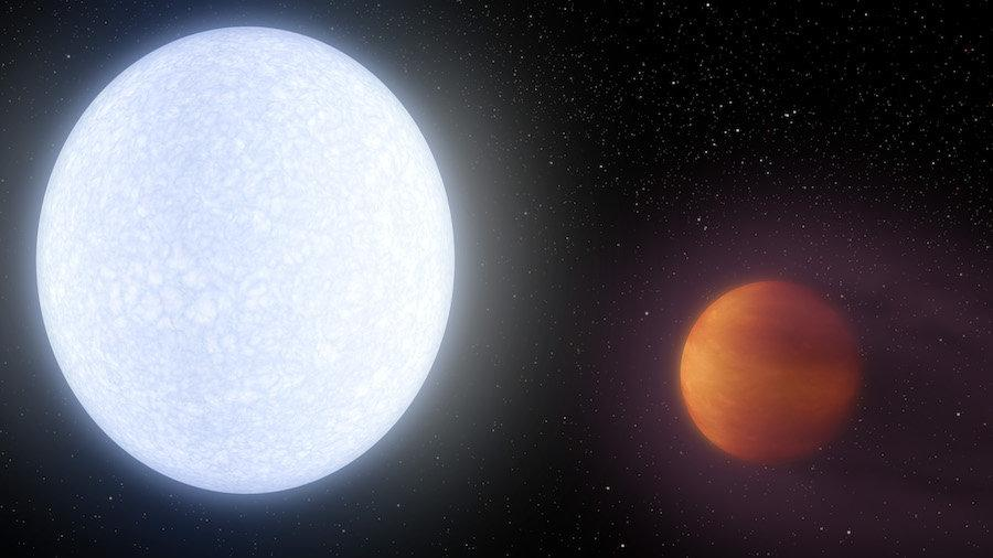 Astronomers have detected iron and titanium vapor in the atmosphere of the ultra-hot exoplanet KELT-9b (right)