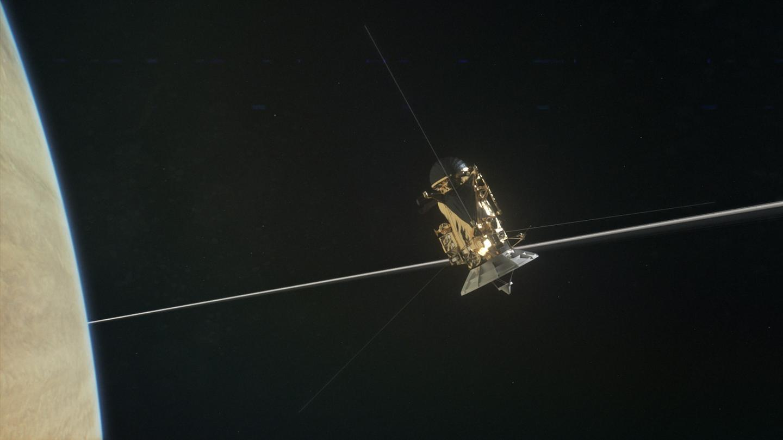 Artist's impression of Cassini passing through Saturn's ring plane