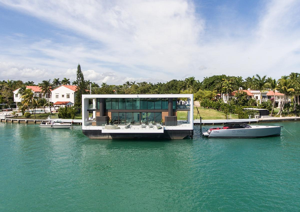 The Arkup #1 is a luxury floating home that can raise itself on hydraulic stilts