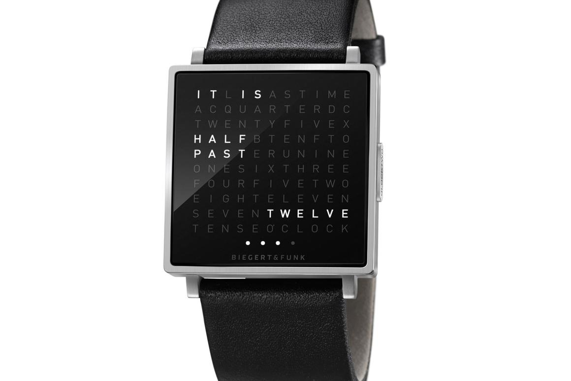 The QLOCKTWO W watch spells out the time in words