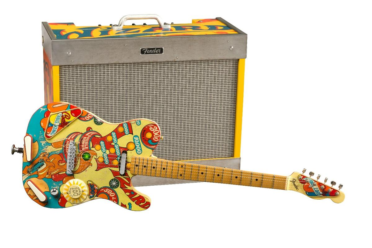The Pinball Telecaster from Fender Custom Shop'sYuriy Shishkov, and the Wizard amplifier fromJim Dolmage