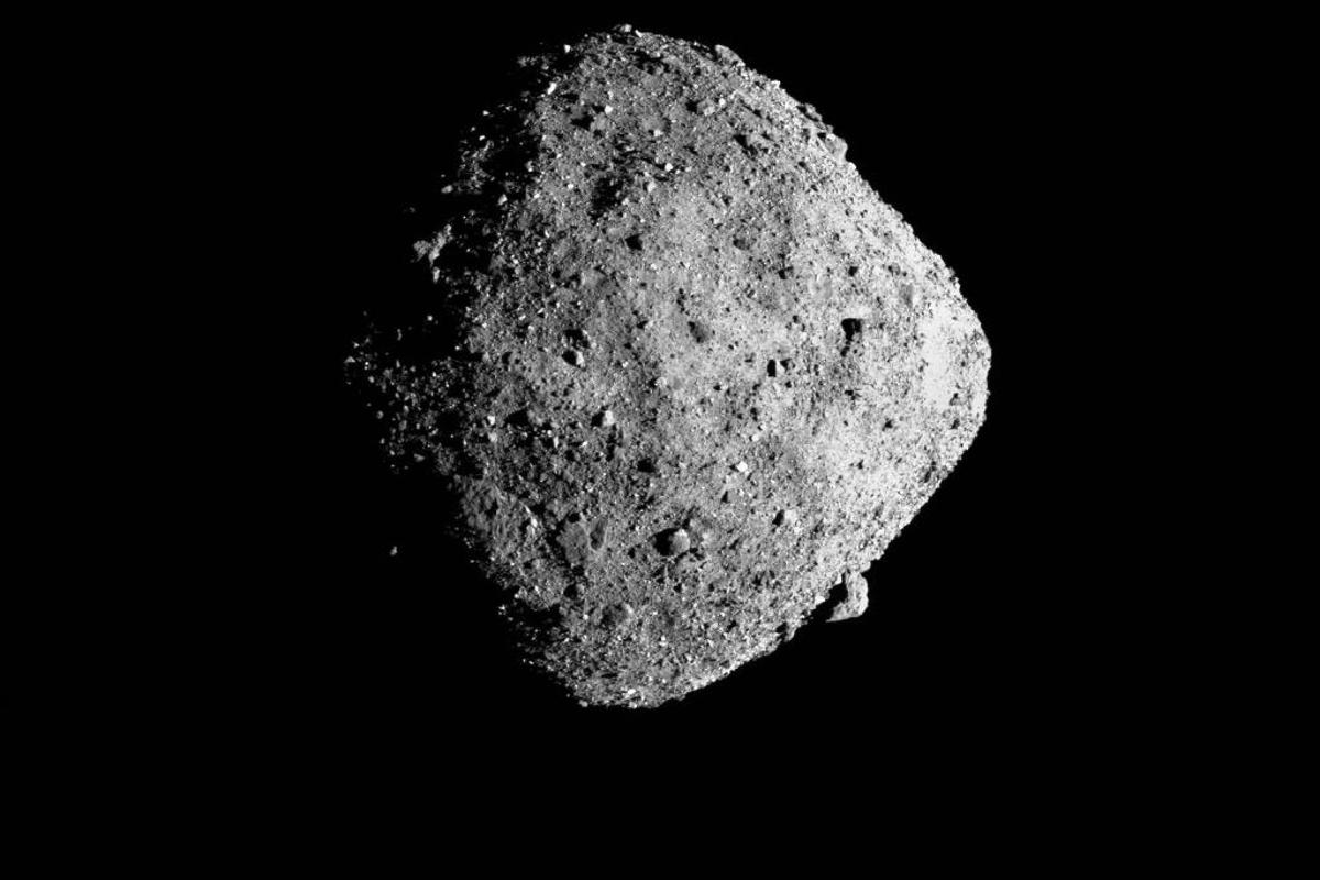 Shot of the asteroid Bennu during an earlier flyby