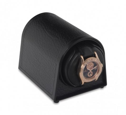The Orbita Sparta Mini watchwinder in black faux leather