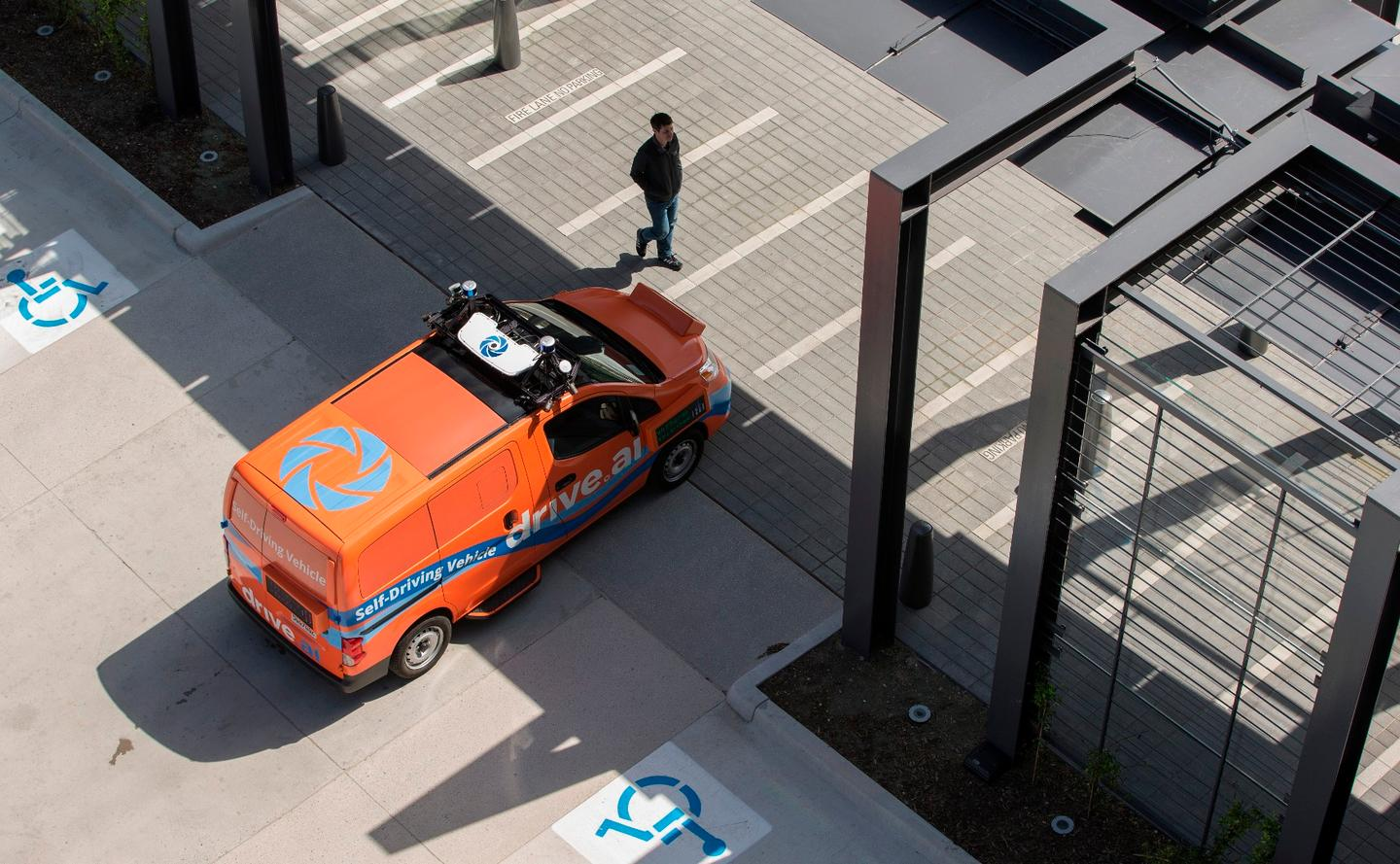 The cars being used for Drive.ai's trials in Texas are painted bright orange and will be fitted with four external screens that display the vehicle's intentions