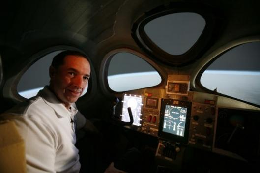 Brian Binnie inside SpaceShipTwo pilot Simulator