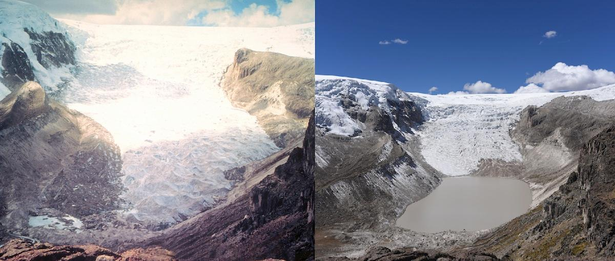 Qori Kalis Glacier inPeru has retreated by 1.14 km (0.7 miles) between 1978 (left) and 2016 (right)