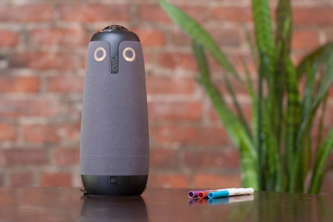 The cylindrical camera connects via a USB cable and comes ready to go with a bunch of common video conferencing tools