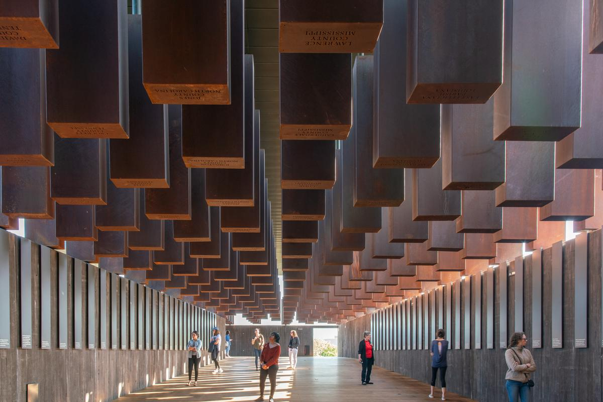 The National Memorial for Peace and Justice, by MASS Design Group, serves as the USA's first memorial to the victims of racial terror and consists of a series of internal and external spaces occupied by 810 Corten steel monuments. The project is one of 16 highlighted by RIBA in its 2021 RIBA International Awards for Excellence Prize
