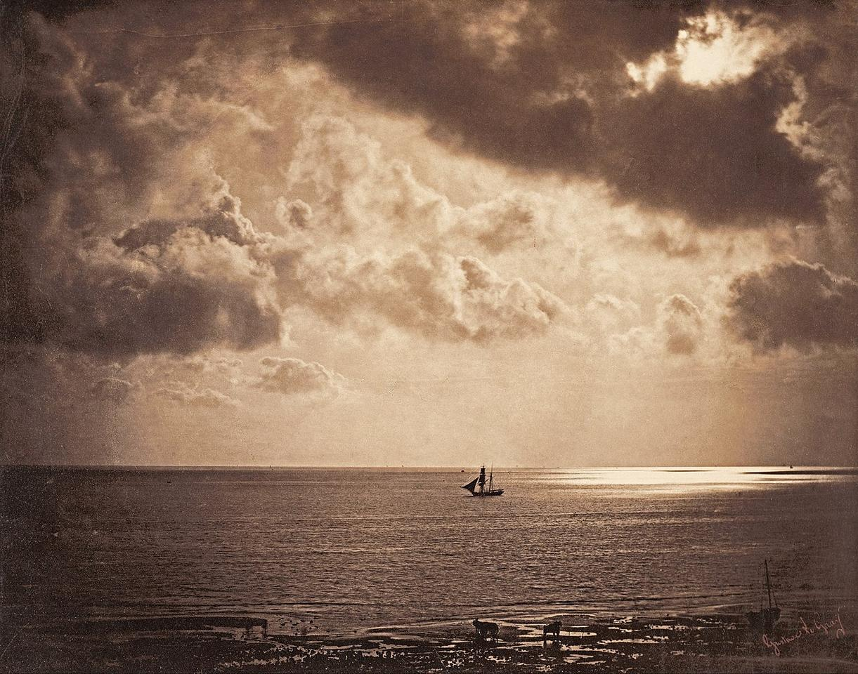 A very early piece of HDR photography. Gustave Le Gray used two negatives, one for the sky and another longer exposure for the sea, and combined the two in the darkroom to create this beautiful photo