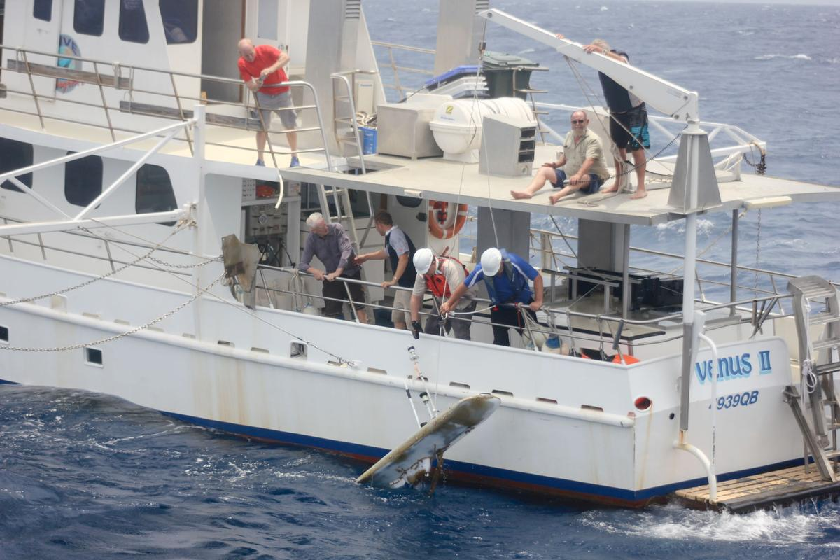 The Papa Mau Wave Glider, being pulled from Australia's Hervey Bay