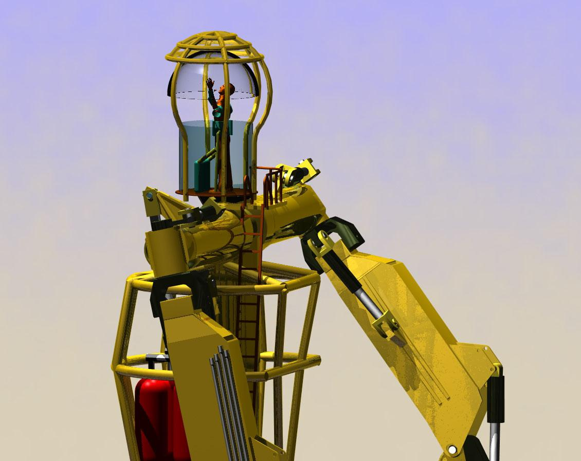 """A professional juggler will operate the robots controls from within its """"head"""""""