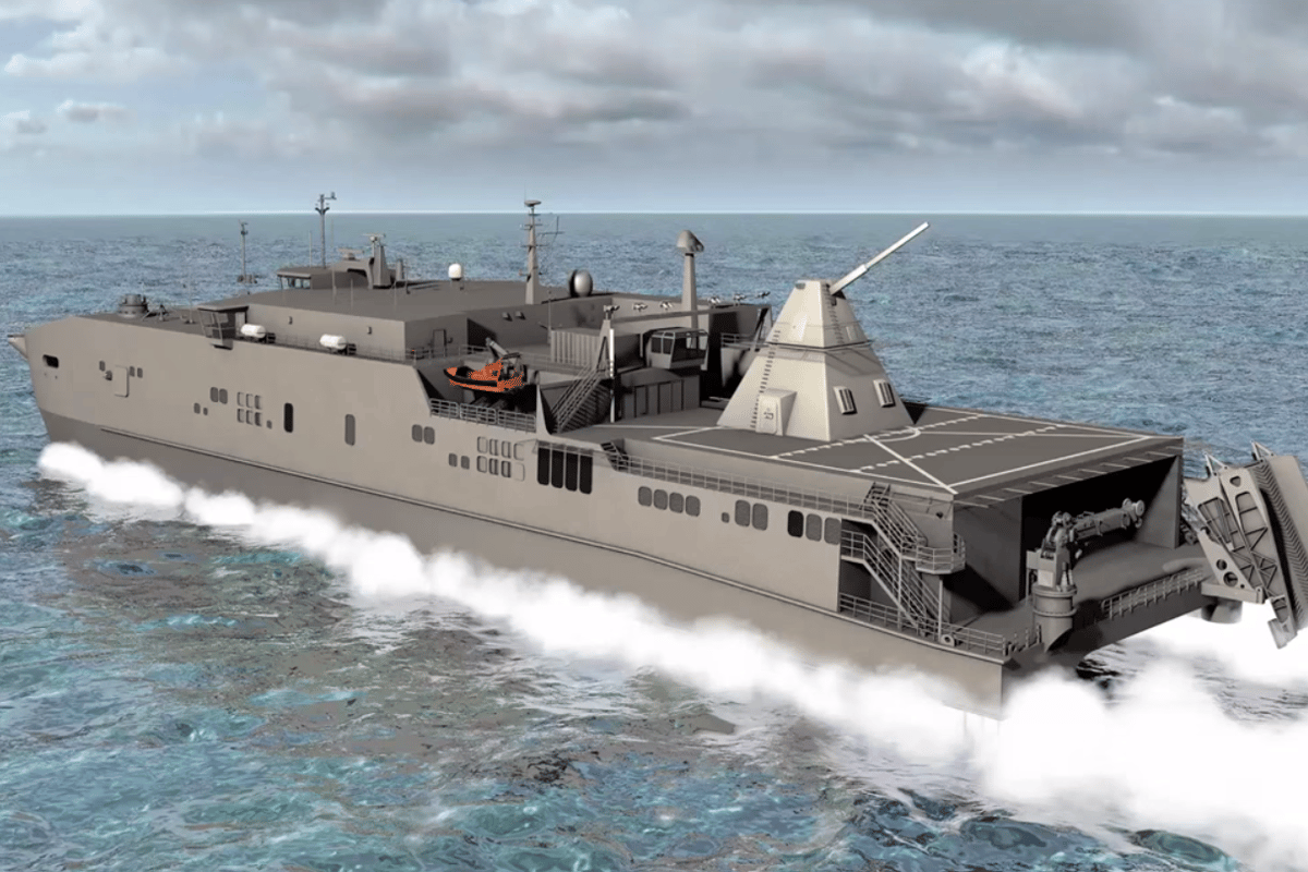 Artist's concept of a ship equipped with a railgun turret (Image: US Navy)
