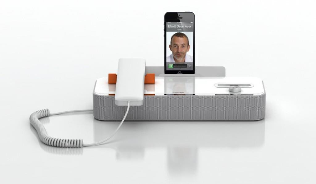 The New AudiOffice is a device that allows people to use their smartphone as a desk phone