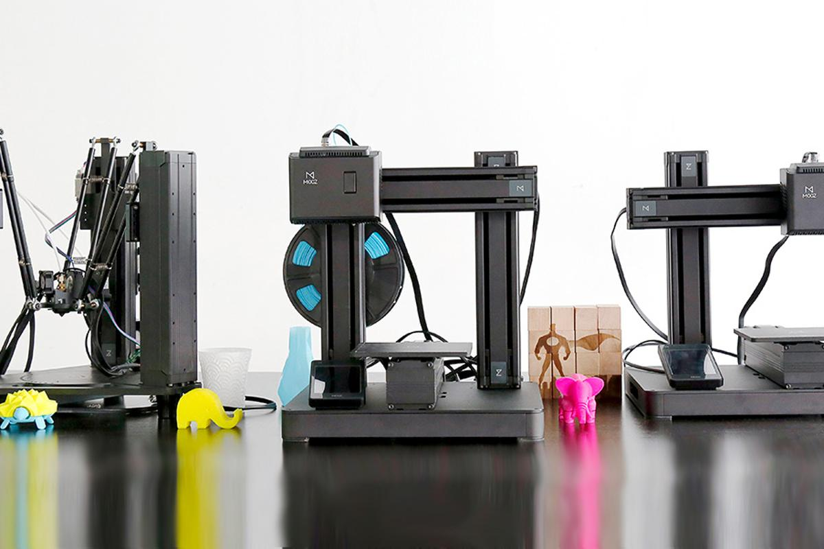 The Mooz system allows users to switch between 3D printing, CNC carving and laser engraving through interchangeable heads