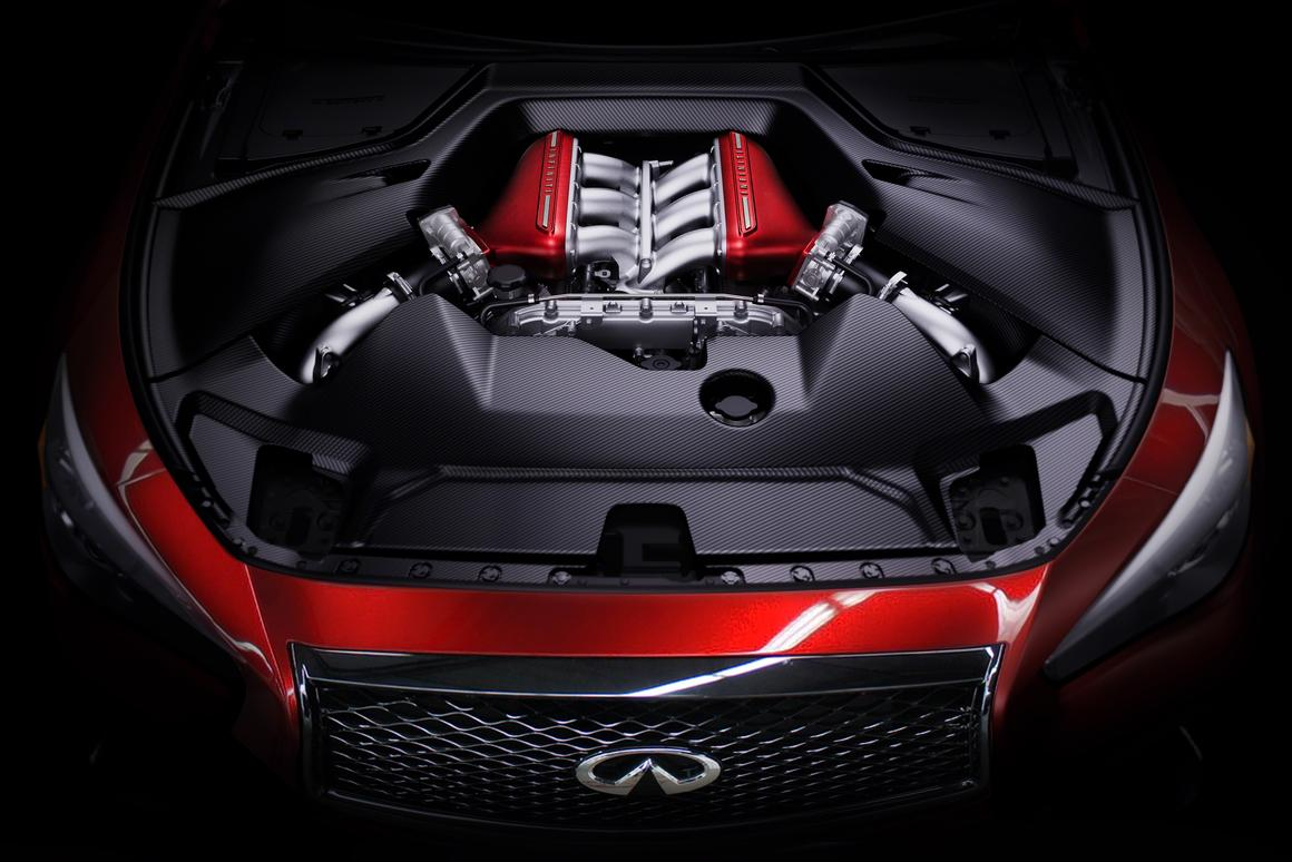 Infiniti's Q50 Eau Rouge high-performance sedan prototype runs the GT-R 568PS (560hp) engine producing a very usable 600Nm (592 lb-ft) that has already embarrassed the world's most expensive sports cars. The proven Eau Rouge engine runs through a full-time AWD system and seven-speed transmission.