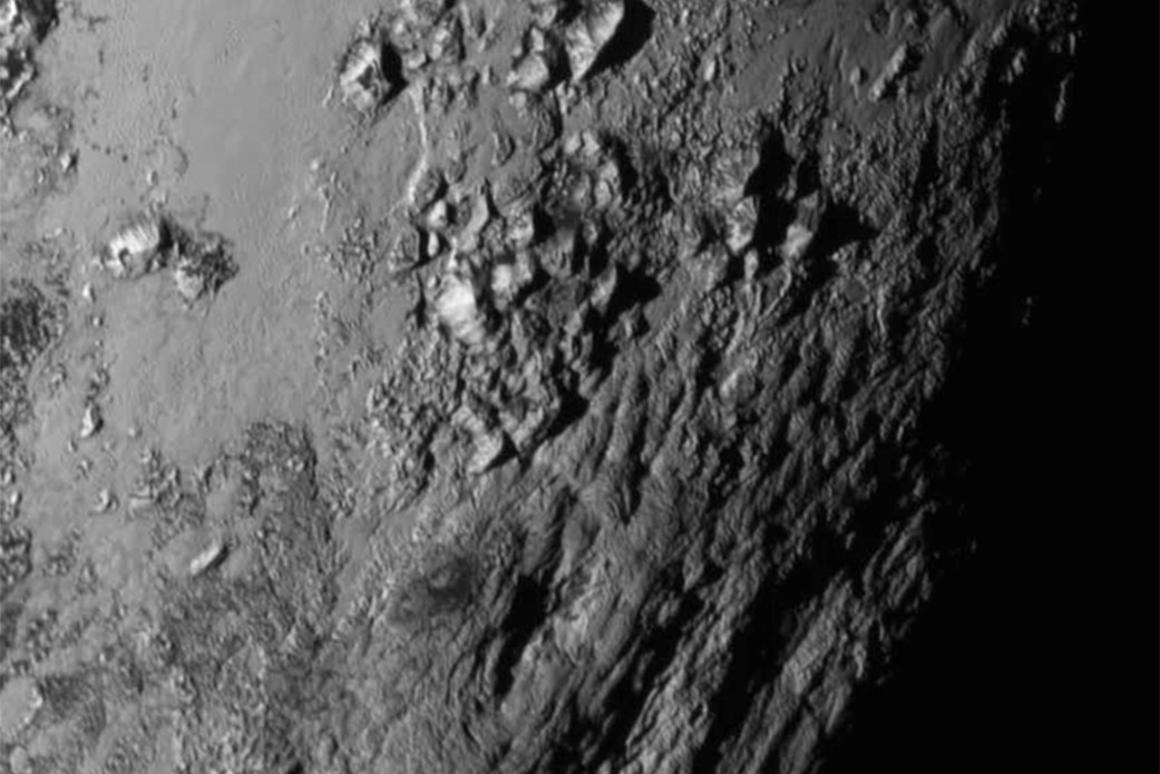 High resolution image showing mountains on the surface of Pluto