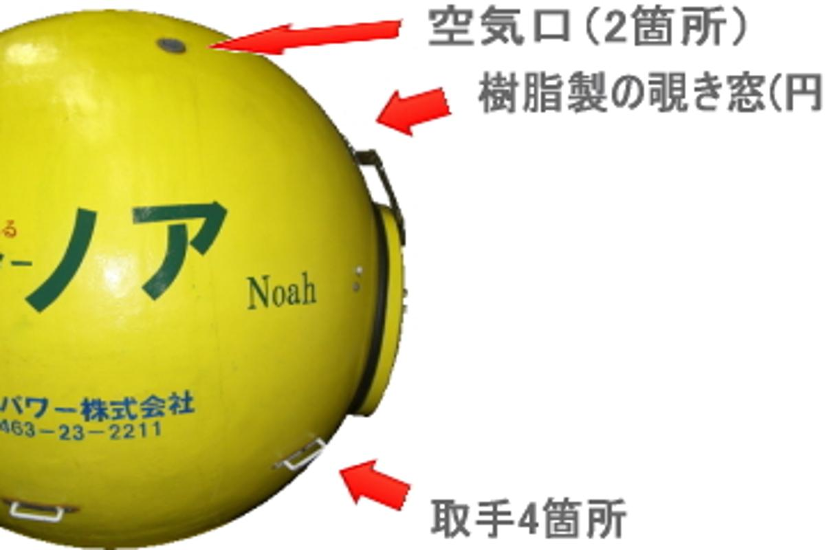 The floating Noah capsule is designed to be used in the event of earthquakes or tsunamis (image from New Cosmopower)