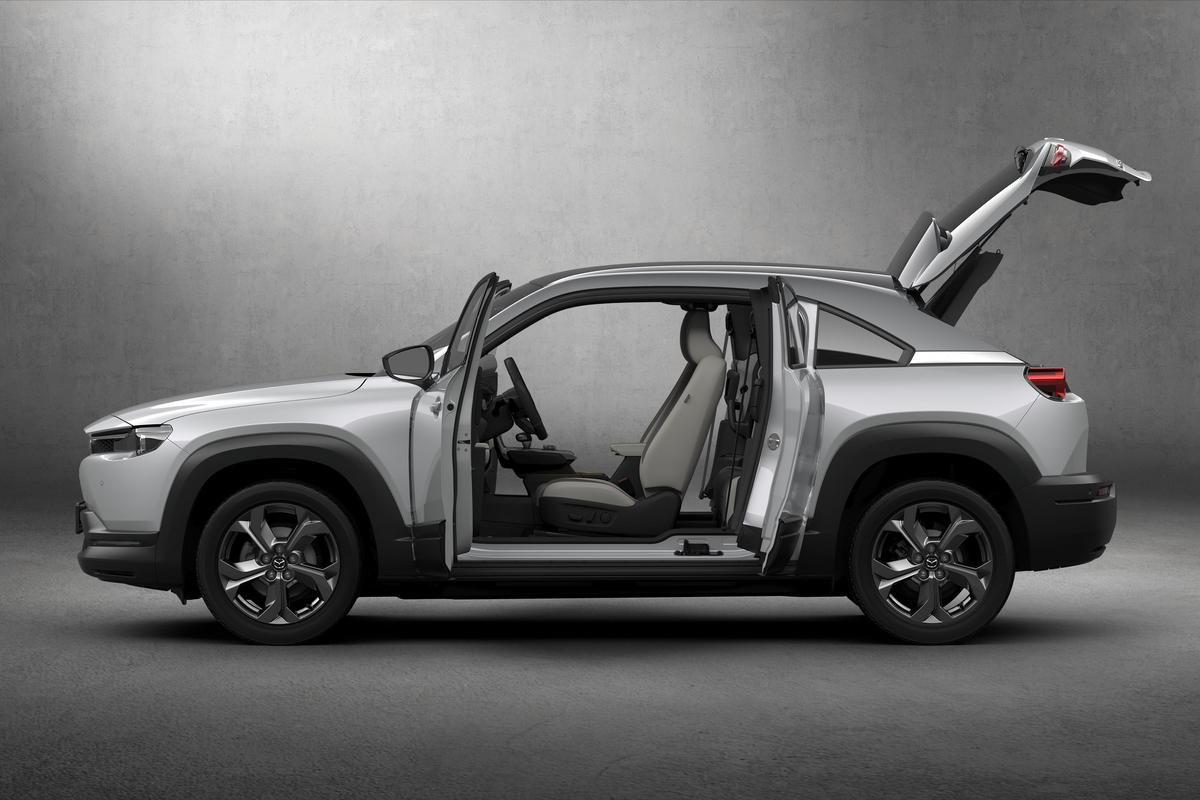 "Featured prominently are the MX-30's ""Freestyle doors,"" which work like the extra cab doors on a pickup truck"