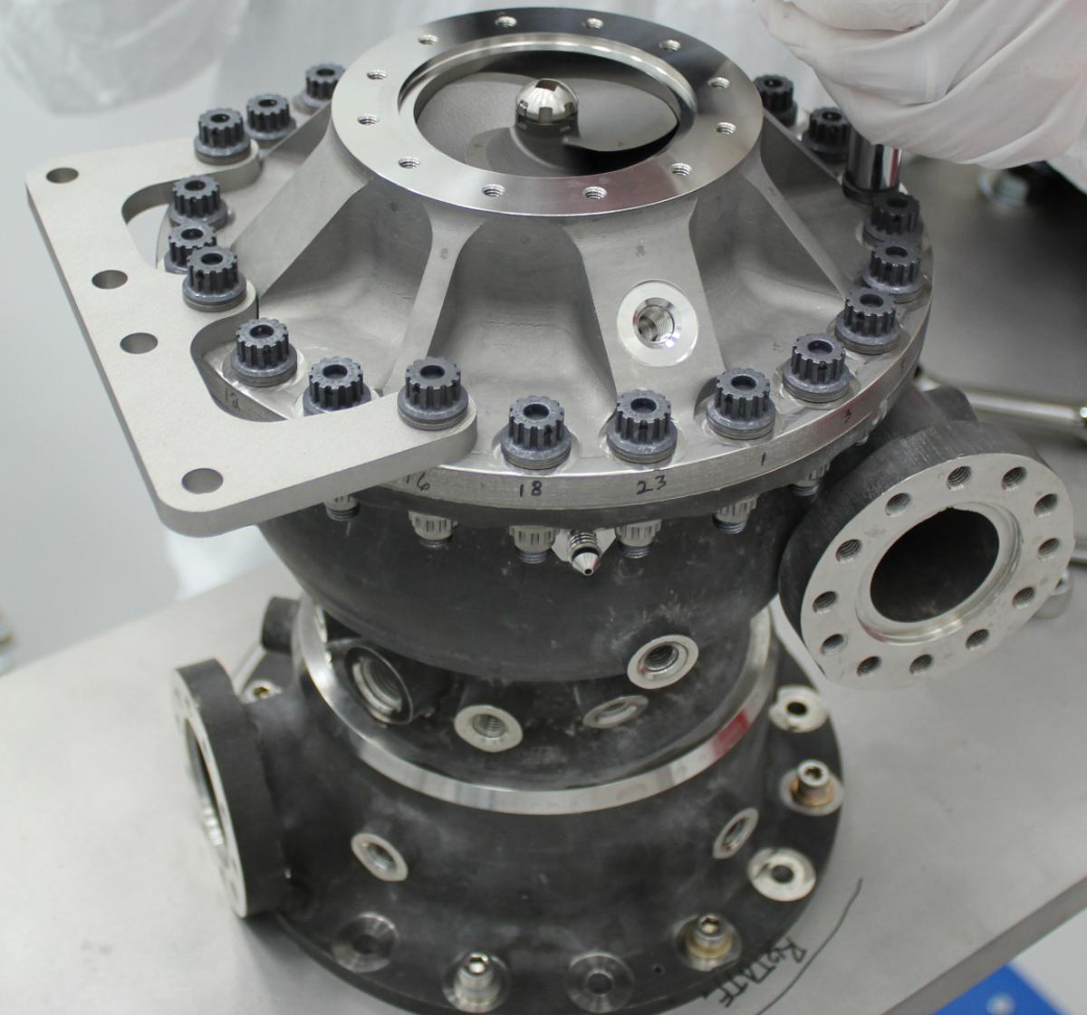 This rocket engine fuel pump has hundreds of parts including a turbine that spins at over 90,000 rpm