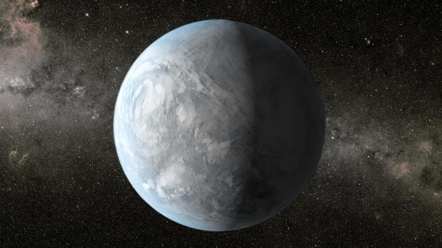 Artist's impression of Kepler 62e, an exoplanet in the habitable zone of a small red dwarf in the constellation Libra