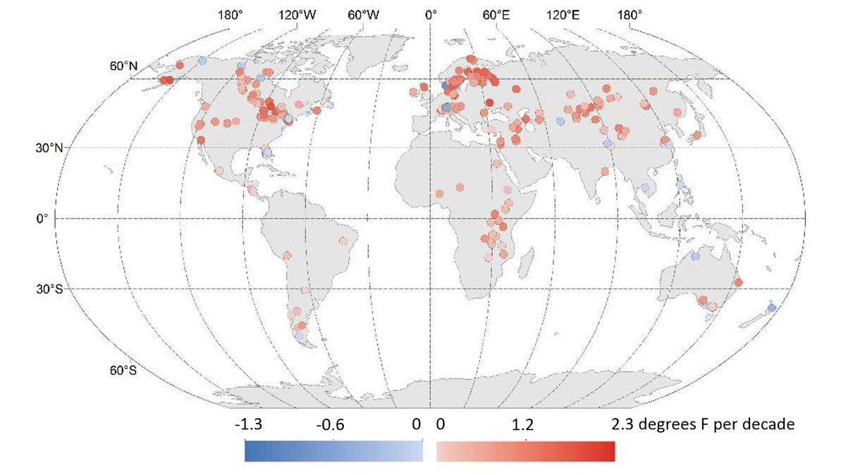 The above image shows 25 years of temperature changes, with red indicating warming and blue showing cooling
