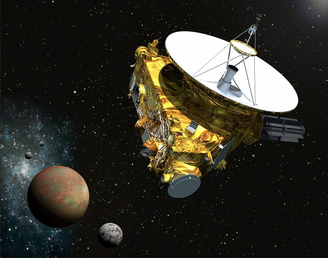 Artist's concept of New Horizons approaching Pluto