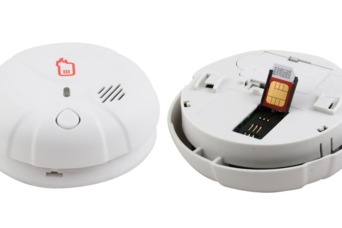 The FireText Smoke Alarm features a SIM card slot to let it send a text message when it detects smoke