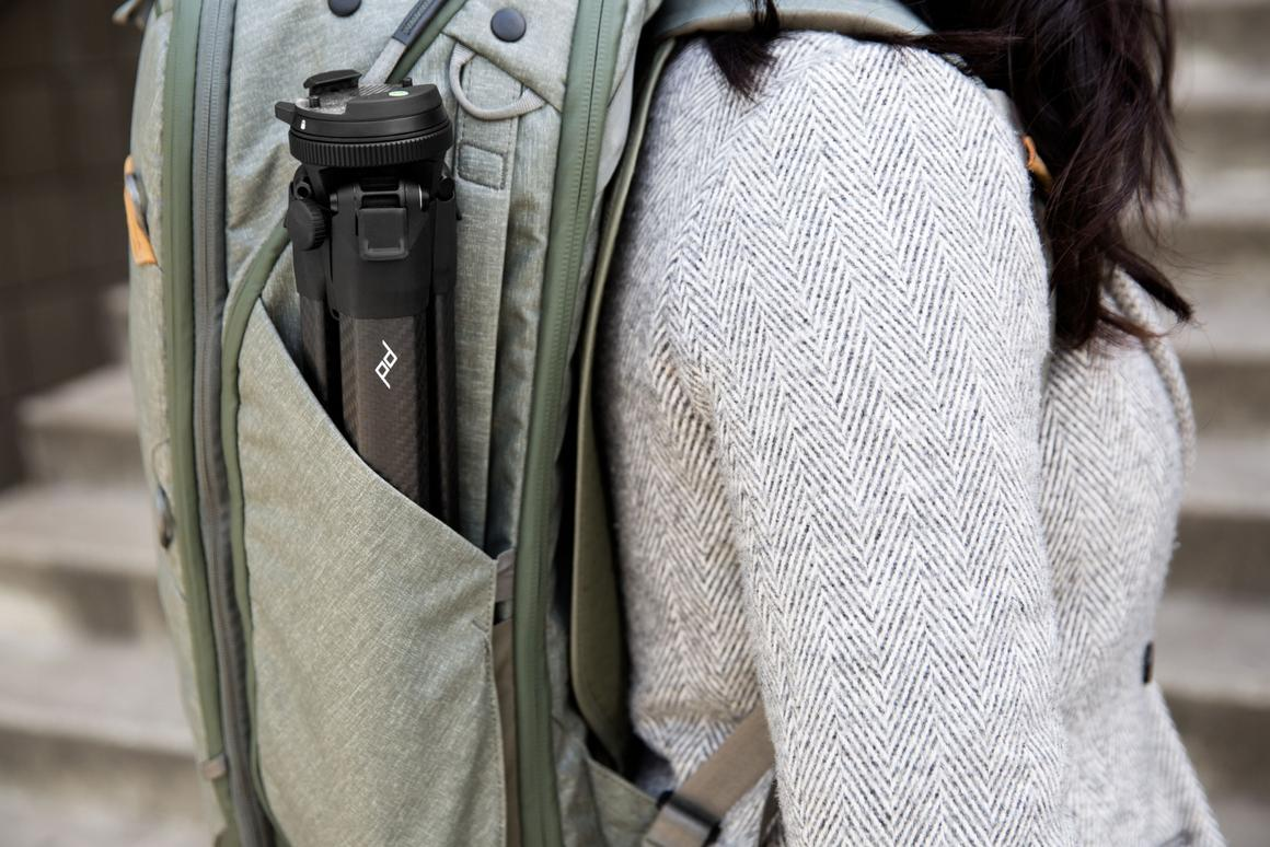 With a similar diameter to most water-bottles, and not much taller, theTravel Tripodstows easily