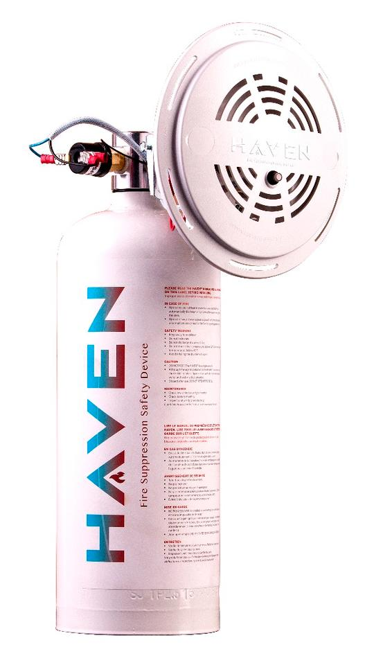 The Haven fire safety system with a canister of suppressant and fire sensor