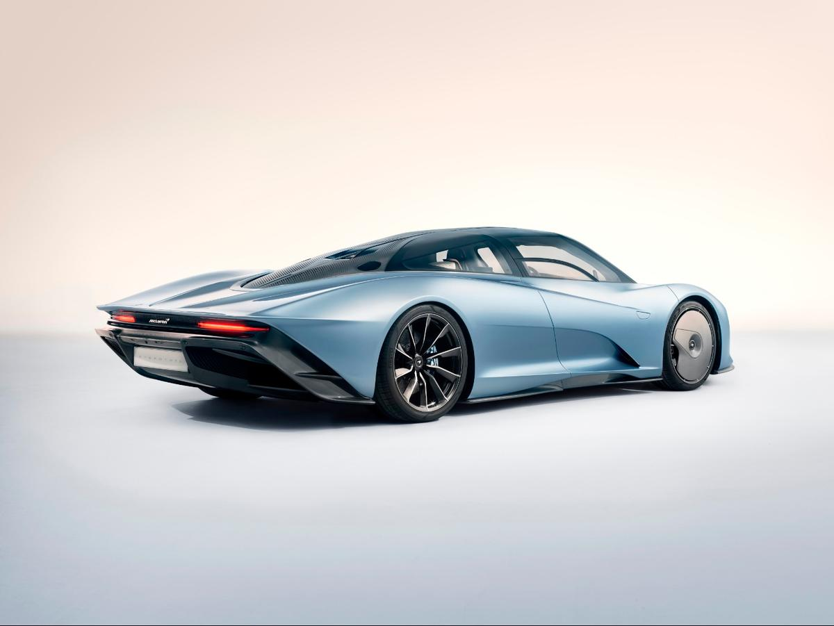 On McLaren's Speedtail,the rear end tapers off in search of precious drag reduction