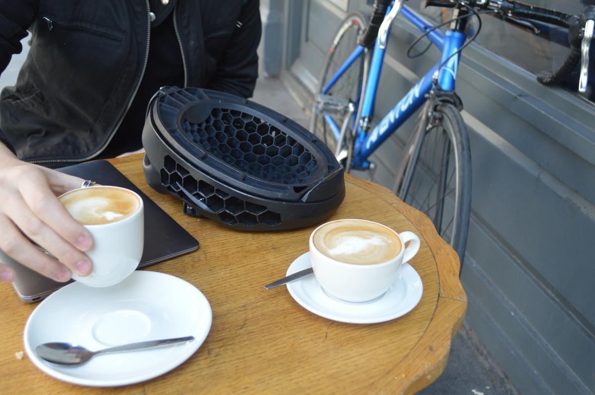The Cyclo helmet in flip-down mode